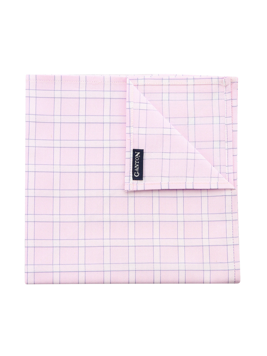 Pink Check Pocket Square
