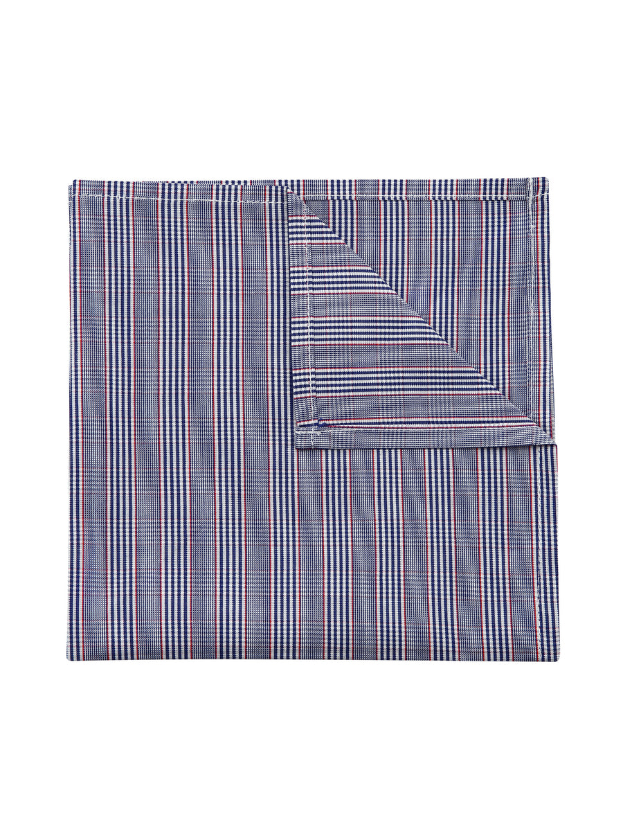Navy and Red Check Pocket Square