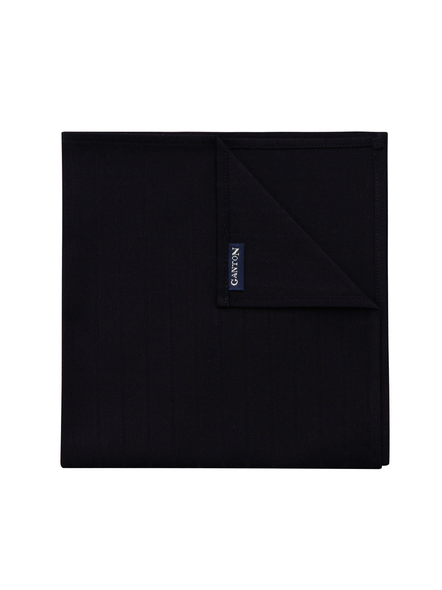 Black Textured Stripe Pocket Square