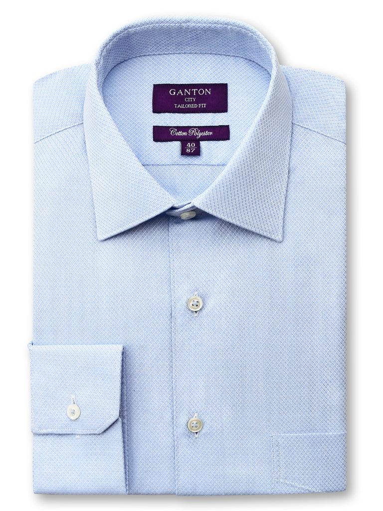 Charlie textured blue shirt in a Ganton city tailored fit with spread collar and button cuff