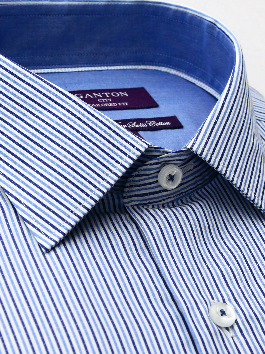 Bruce blue stripe shirt in a Ganton city tailored fit with spread collar and button cuff