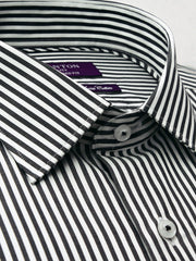 The Adam stripe Ganton shirt with a spread collar and plain front