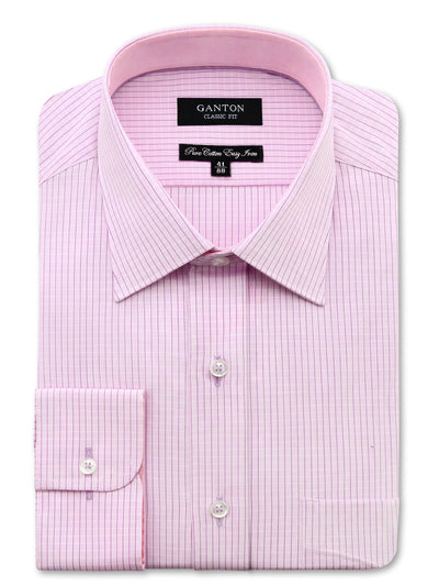 Pink Check Business Shirt, Classic Fit, pocket and spread collar