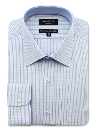 Hank Blue Check Shirt in Classic Fit with a spread collar, button cuff, placket and pocket