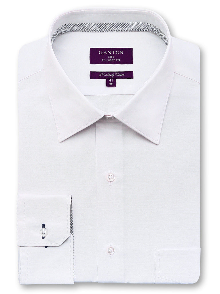 Charles plain white shirt in a Ganton city tailored fit with a spread collar and button cuff