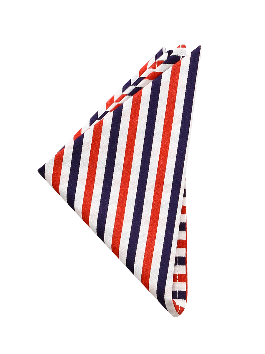 Navy, Red and White Stripe Pocket Square