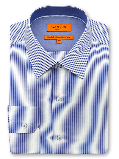 Brian navy stripe shirt in a Ganton slim fit with spread collar and button cuff