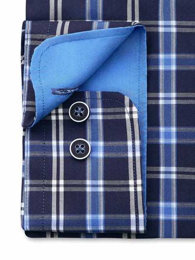 Blue check Classic Fit shirt from Ganton. Blue contrast on inside cuff