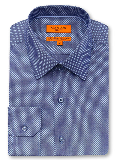 Braxton navy print shirt in a Ganton slim fit with spread collar and button cuff
