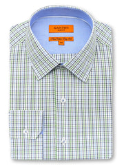 Clyde green check shirt in a Ganton slim fit with spread collar and button cuff