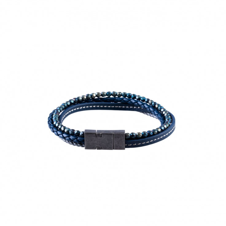 Blue Leather and Hematite Beads Multi-strand Bracelet