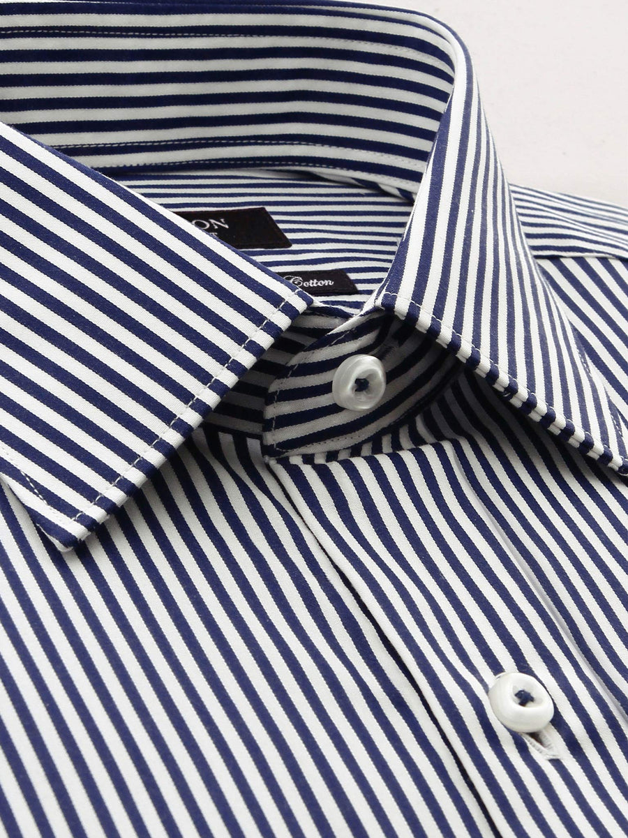 Ganton classic fit navy stripe shirt