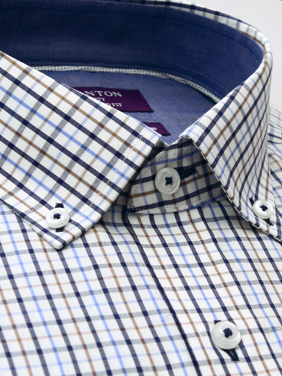 Cliff brown check shirt in a Ganton city tailored fit with button down collar and button cuff
