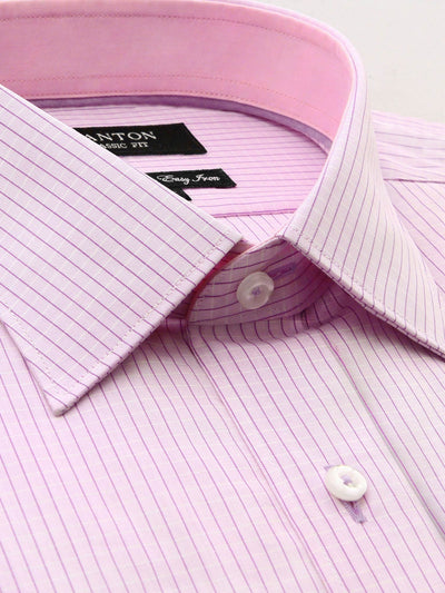 Pink Check Shirt, Classic Fit with spread collar and placket