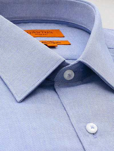 Anthony Blue Textured Shirt Spread Collar