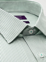 The Carter green stripe Ganton shirt with a spread collar and plain front