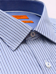 The Brian stripe navy Ganton shirt with a spread collar and plain front