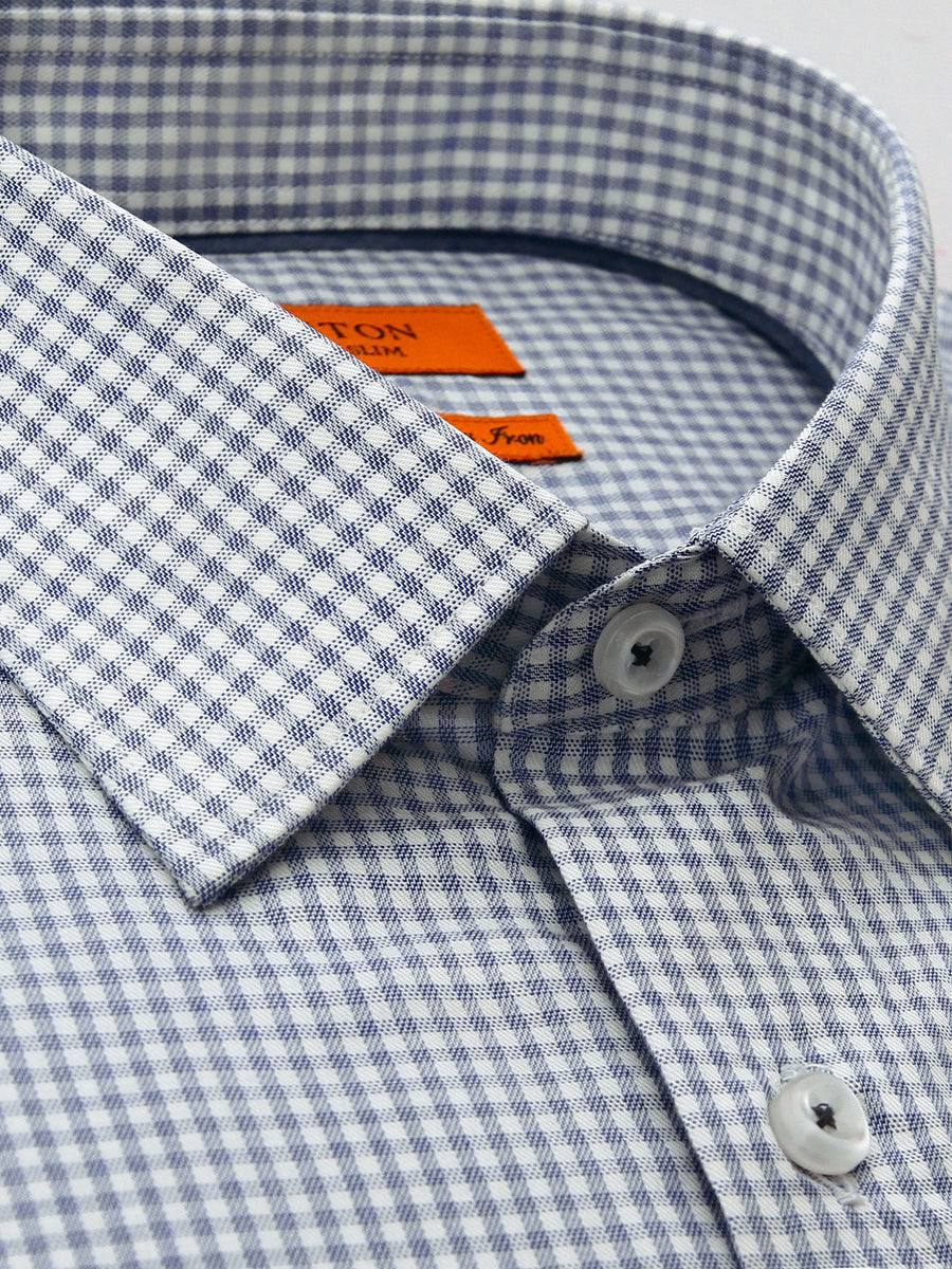Carter navy check shirt in a Ganton slim fit with spread collar and button cuff
