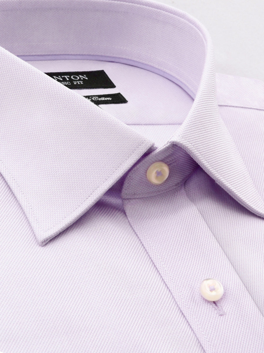 Purple Classic Fit Shirt with Spread Collar and Pocket