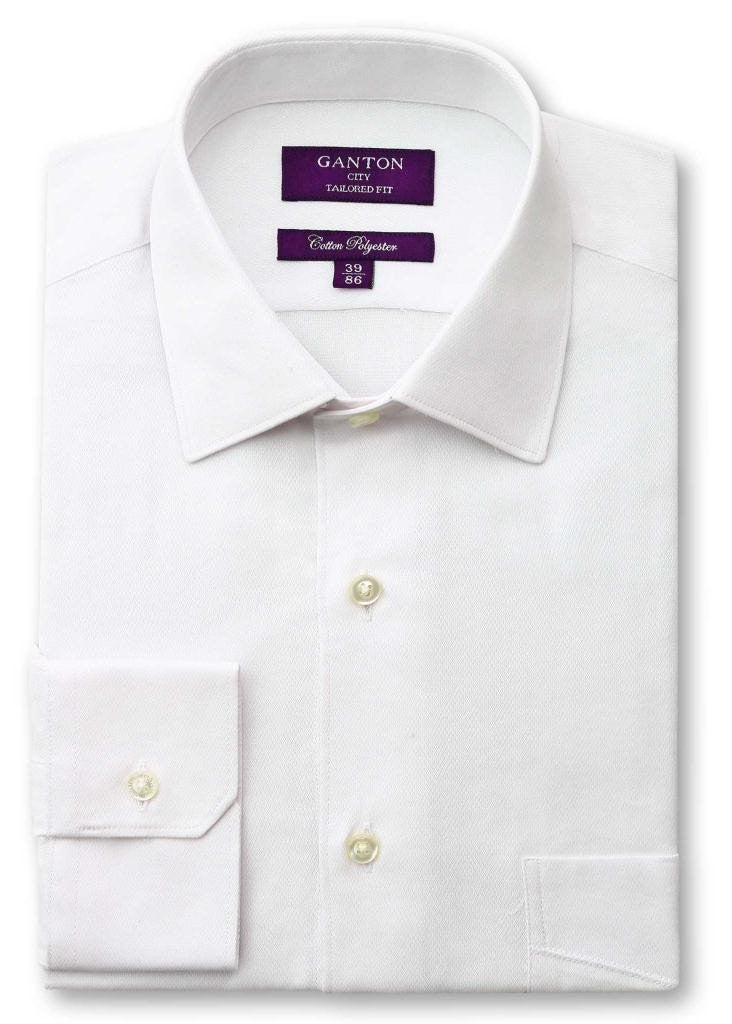 Arnold plain white shirt in a Ganton city tailored fit with spread collar and button cuff