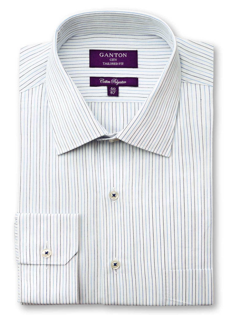 Ben blue stripe shirt in a Ganton city tailored fit with spread collar and button cuff