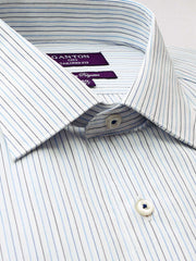 The Ben blue stripe Ganton shirt with a spread collar and plain front