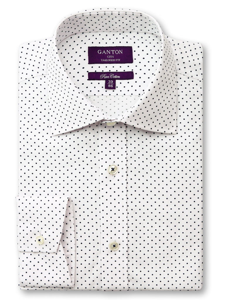 Benson Spot Shirt in a Ganton city tailored fit with semi cutaway collar and button cuff