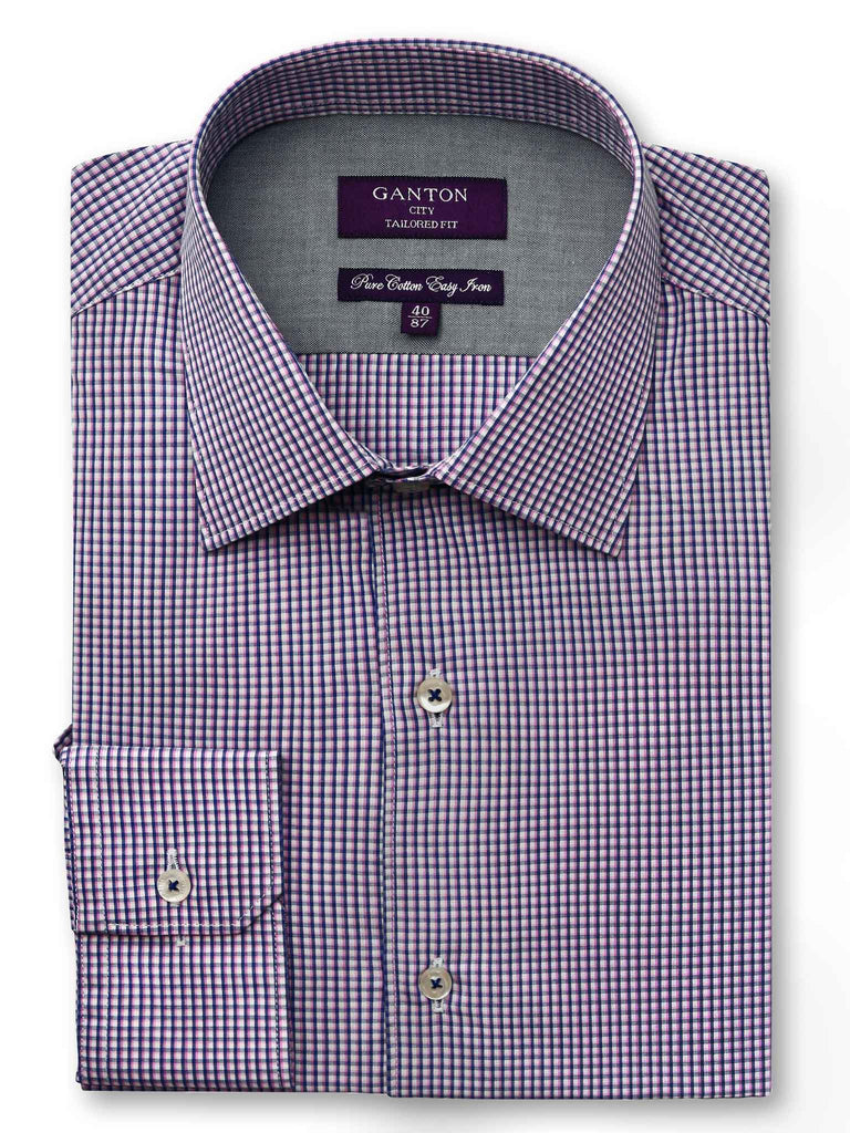 Bobby pink check shirt in a Ganton city tailored fit  with spread collar and button cuff