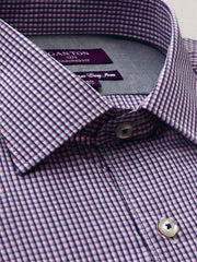 The Bobby check Ganton shirt with a spread collar and plain front