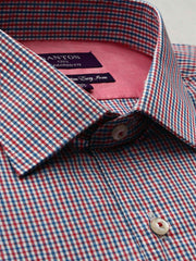The Caleb red check Ganton shirt with a spread collar and plain front