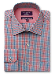Caleb red check shirt in a Ganton city tailored fit with spread collar and button cuff