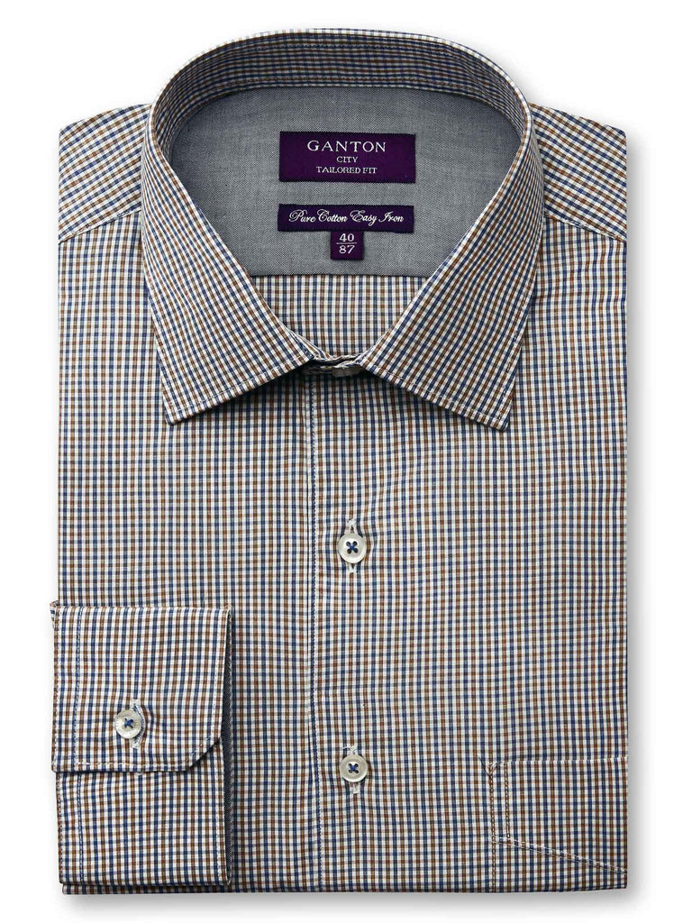 Caleb tan check shirt in a Ganton city tailored fit with spread collar and button cuff