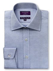 Carson textured blue shirt in a Ganton city tailored fit with semi cutaway collar and button cuff