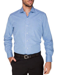 Ganton Chad check aqua shirt with plain front and without pocket