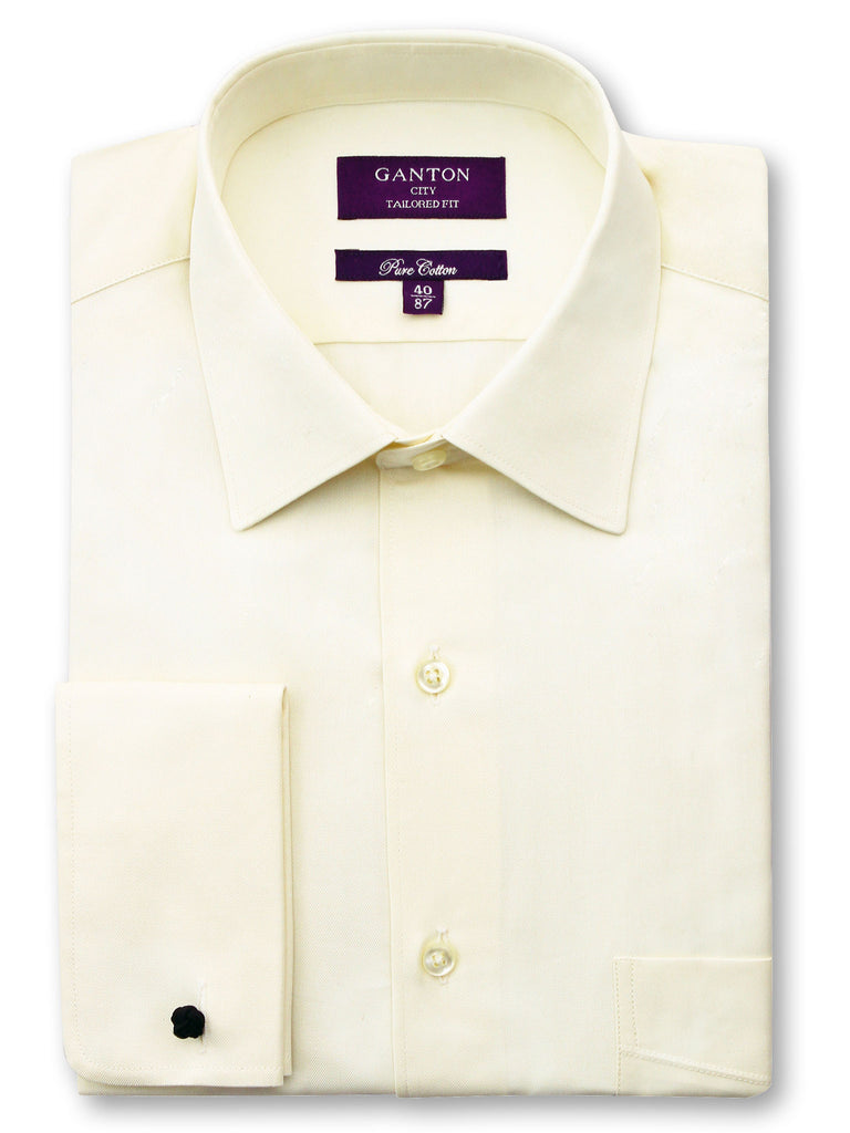 Cohen textured cream shirt in a Ganton city tailored fit with spread collar and french cuff