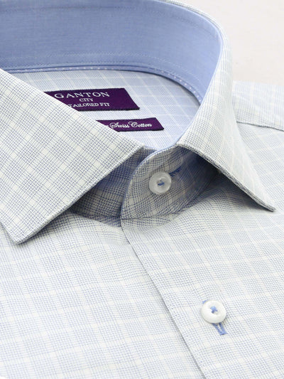 City Tailored Fit Blue Check Shirt with Spread Collar