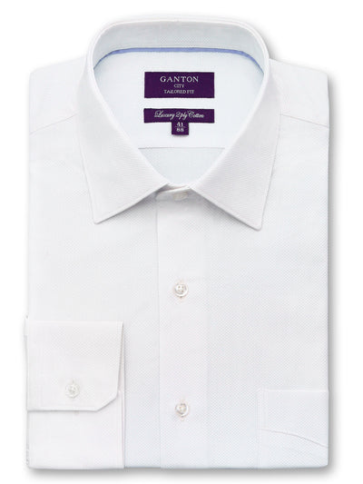 Chris textured white shirt in a Ganton city tailored fit with spread collar and button cuff