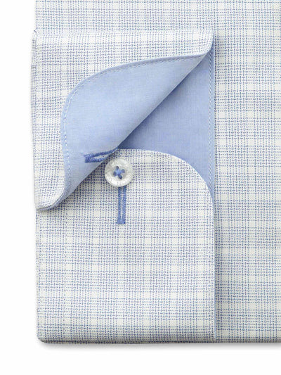 City Tailored Fit Blue Check Shirt with button cuff and blue contrast