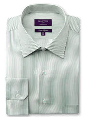 Carter green stripe shirt in a Ganton city tailored fit with a spread collar and button cuff