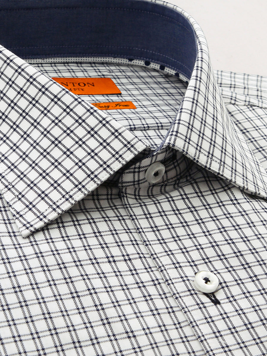 Slim fit navy check shirt