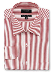 Baxter red stripe shirt in a Ganton classic with spread collar and button cuff