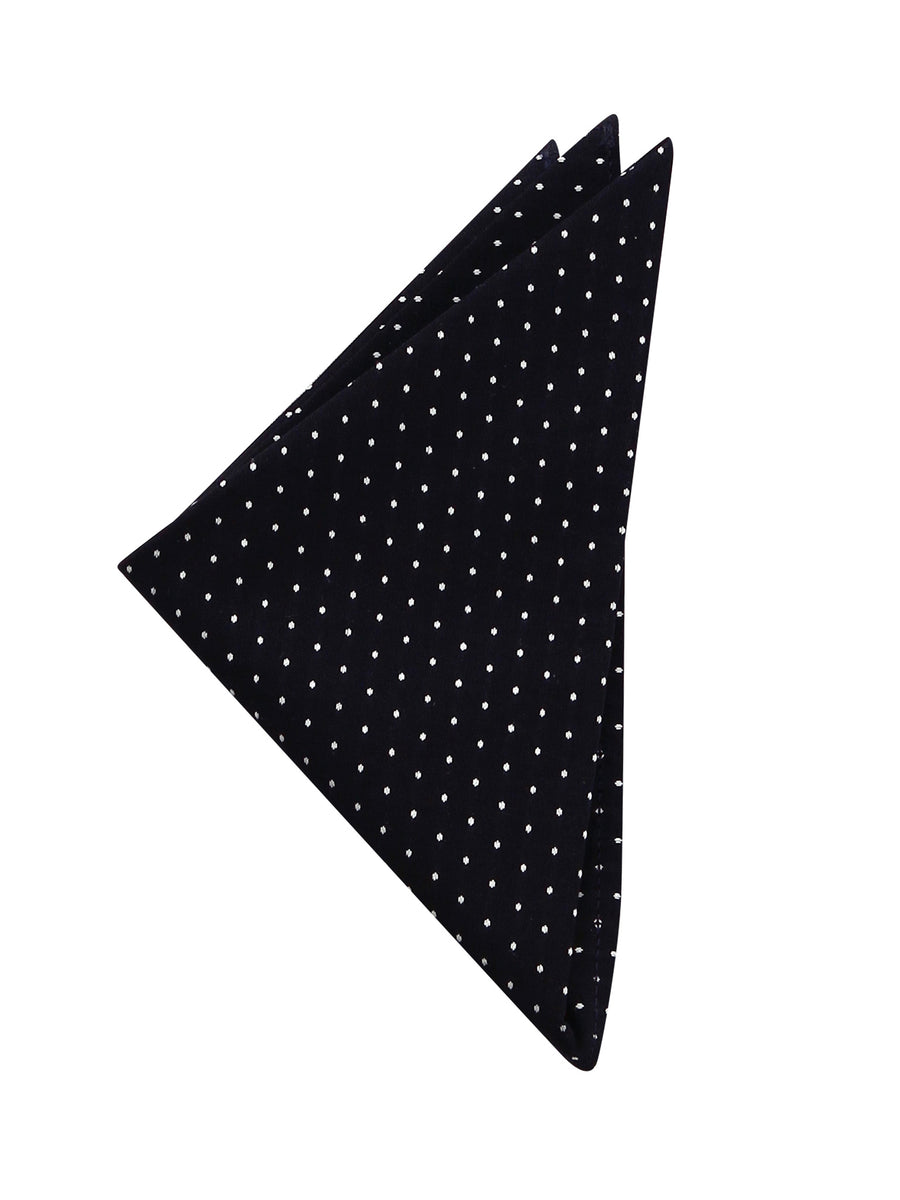 Black with White Polka Dot Pocket Square