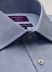 The Carson textured blue Ganton shirt with a semi cutaway collar and placket