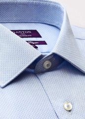 The Charlie textured Ganton shirt with a spread collar and plain front