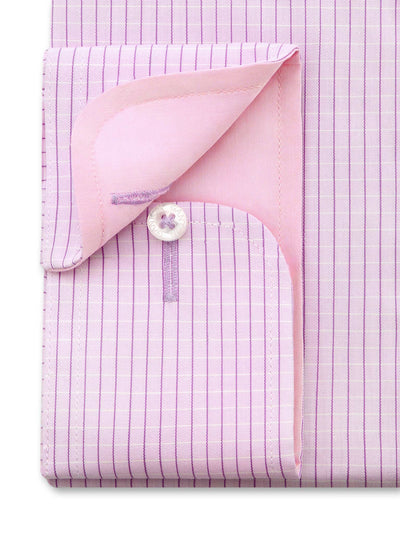 Pink Check Shirt with button cuff