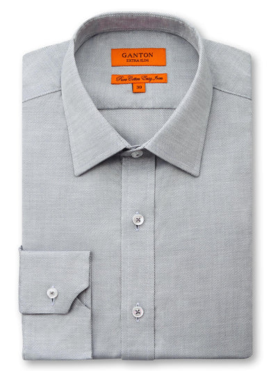 Aaron textured grey shirt in a Ganton slim fit with spread collar and button cuff.