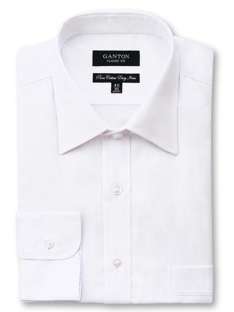 Andrew textured white shirt in a Ganton classic fit with spread collar and button cuff