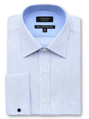 Channing stripe blue shirt in a Ganton classic fit with spread collar and french cuff