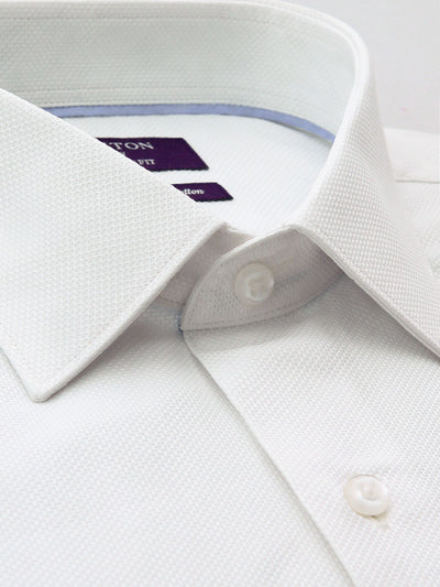 The Chris textured white Ganton shirt with a spread collar and plain front