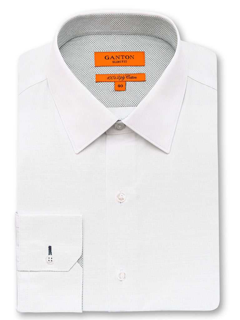 Cameron plain white shirt in a Ganton slim fit with spread collar and button cuff